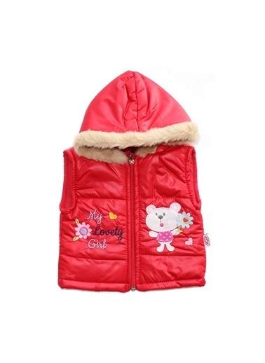 By Bebek Odam By Bebek Odam Tüylü Kapüşonlu Ayıcık Desenli Fermuarlı  Bebek Yelek  Kırmızı